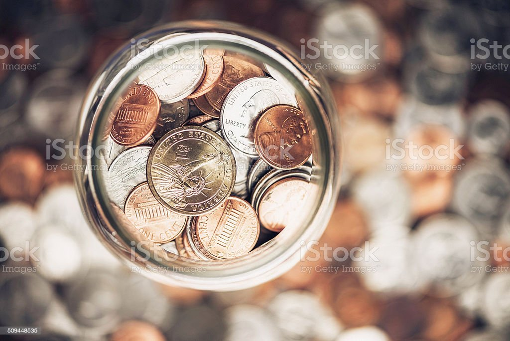 Cash Jar Filled with Cash Donations stock photo