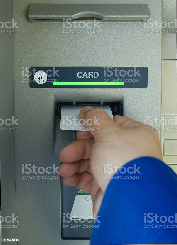 cash machine hand and blank card royalty-free stock photo