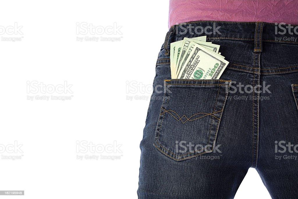 Cash Money in Girl's Back Pocket of Jeans, Hundreds, Twenties stock photo