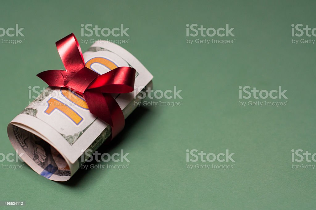 Cash Money Present of U.S. Currency stock photo