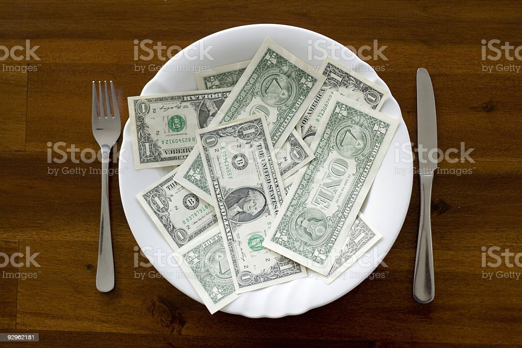 Cash on a Plate stock photo