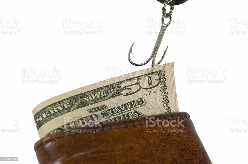 Cash on the Hook stock photo