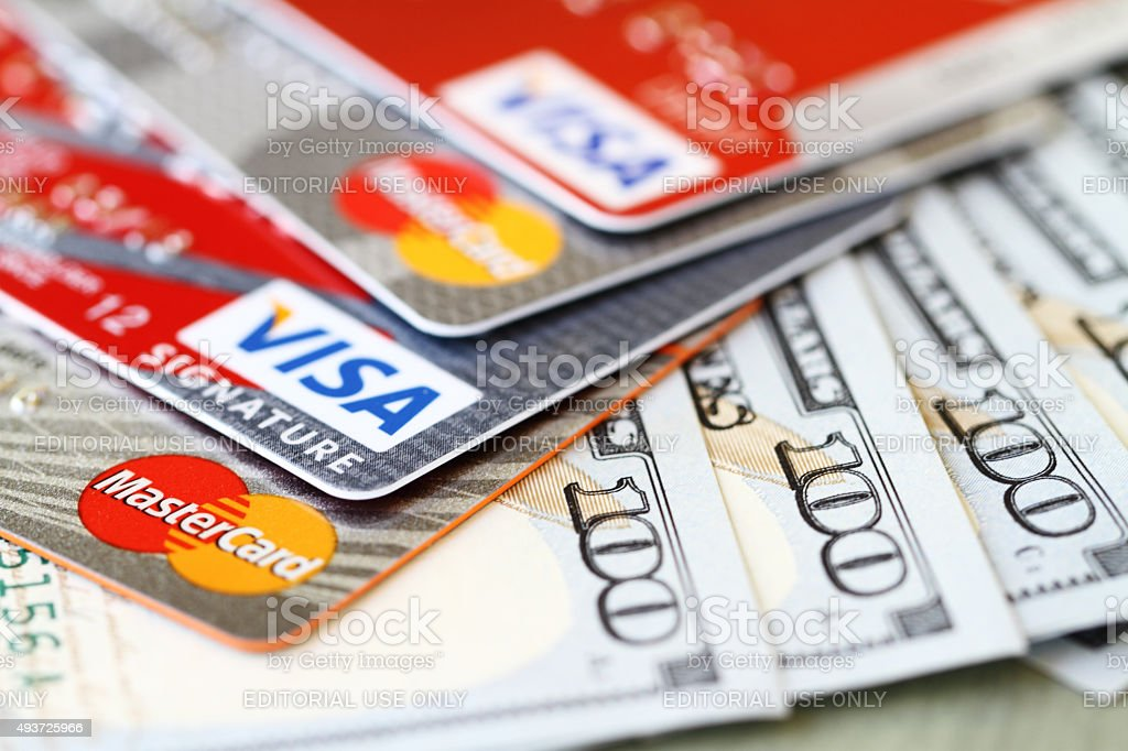 Cash or credit stock photo