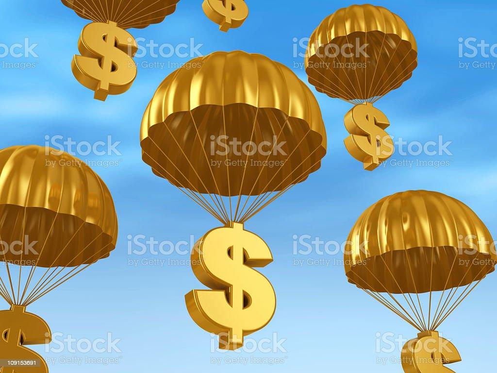 cash parachute royalty-free stock photo