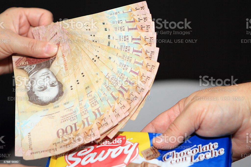 Cash Payment in Venezuela stock photo