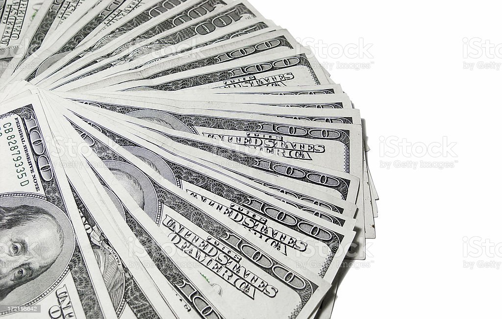 Cash Pile Spread - 100's royalty-free stock photo