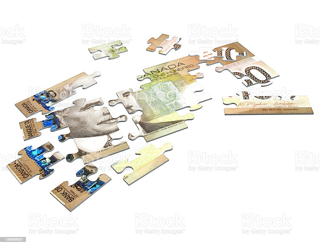 Cash Puzzle Canadian 3D (with clipping path) stock photo