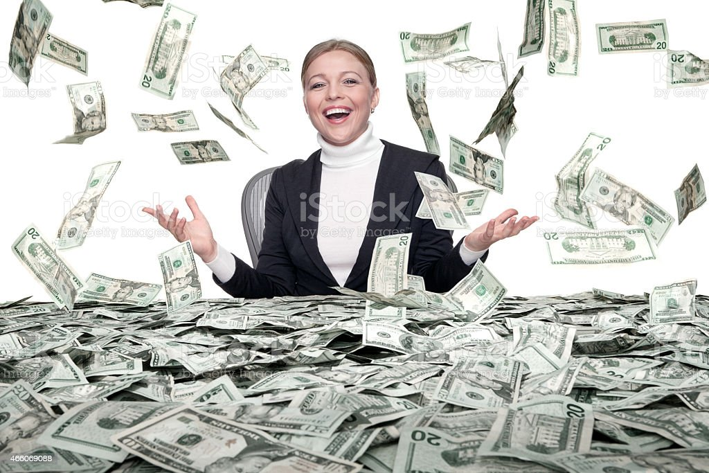 cash rain stock photo