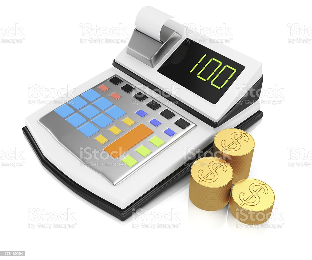 cash register and coins royalty-free stock photo