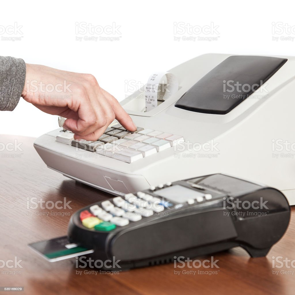 Cash register and credit card reader. stock photo