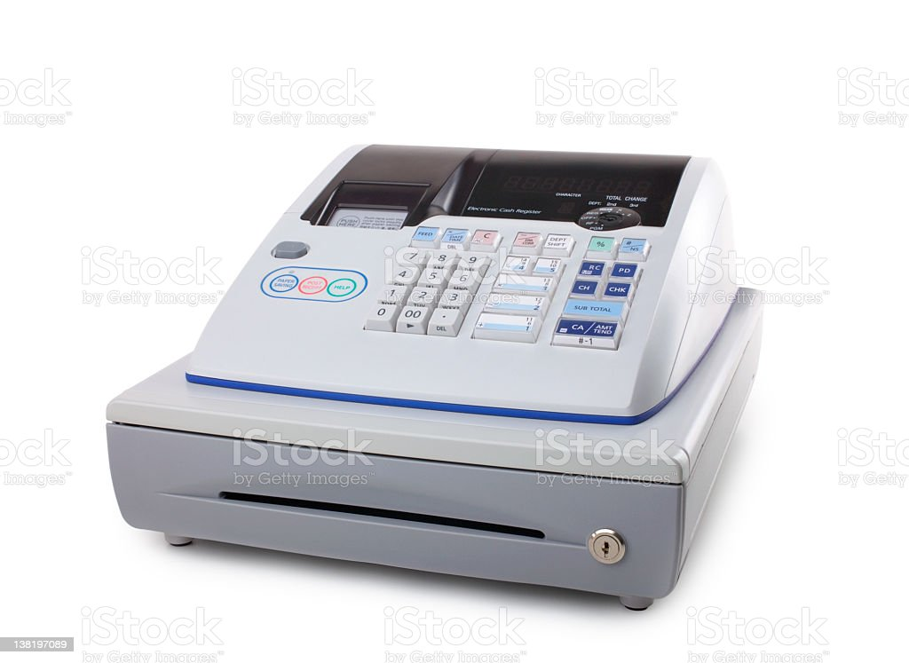 Cash register isolated on white background royalty-free stock photo