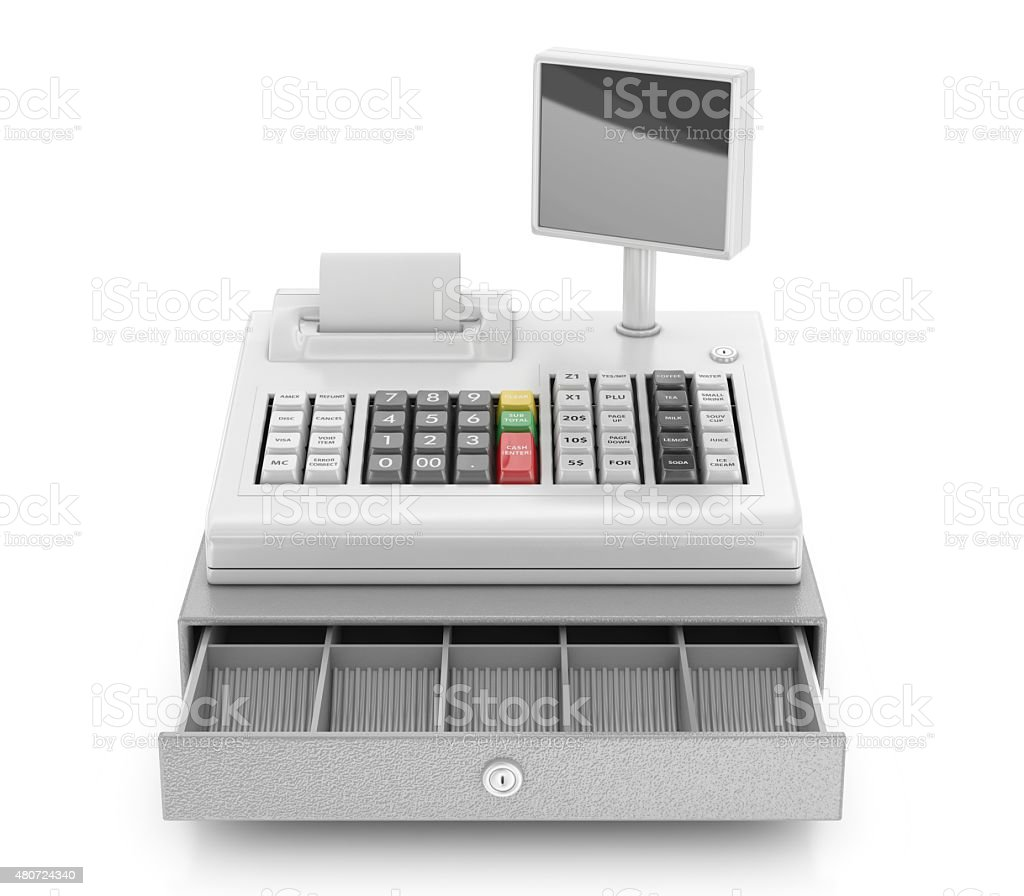 Cash register isolated on white stock photo