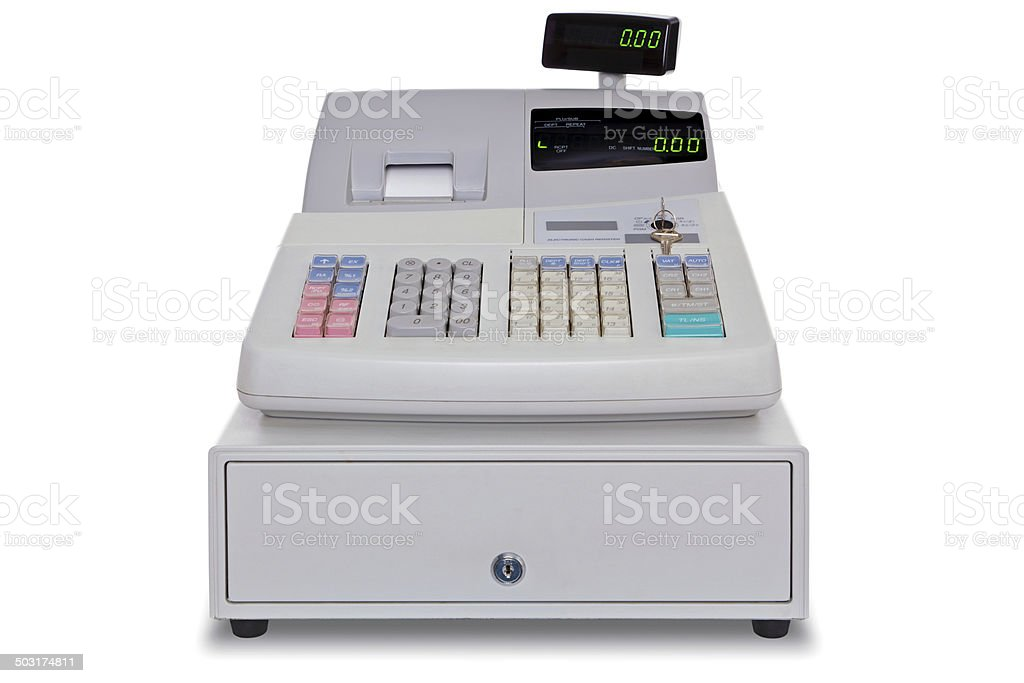 Cash Register isolated with clipping path stock photo