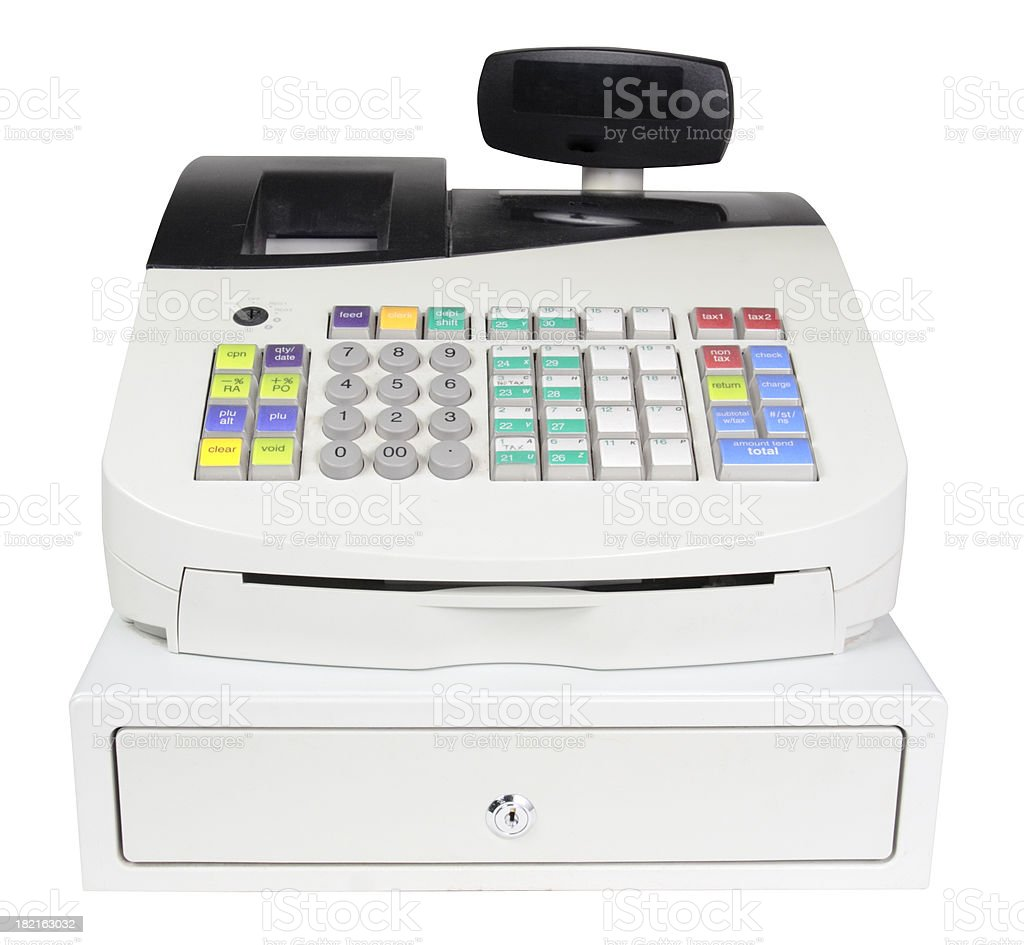 Cash Register on White with Clipping Path stock photo