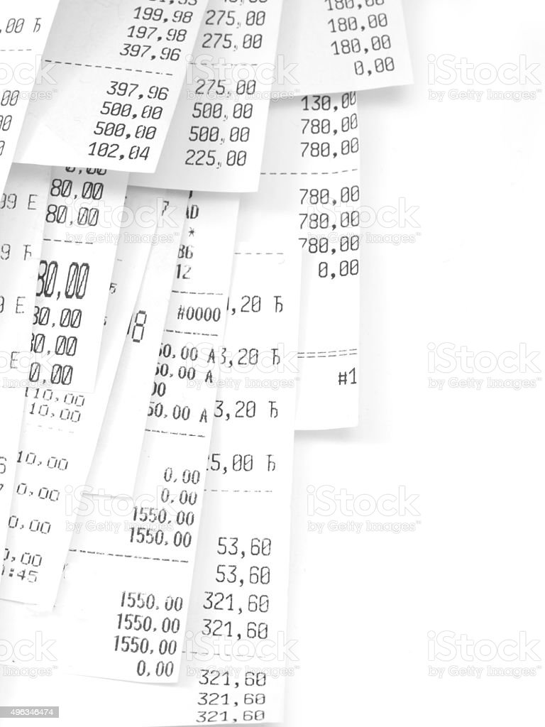 cash register receipts stock photo