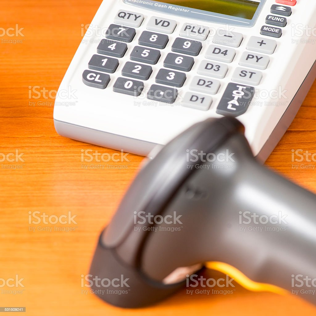 Cash register with barcode scanner against the background stock photo