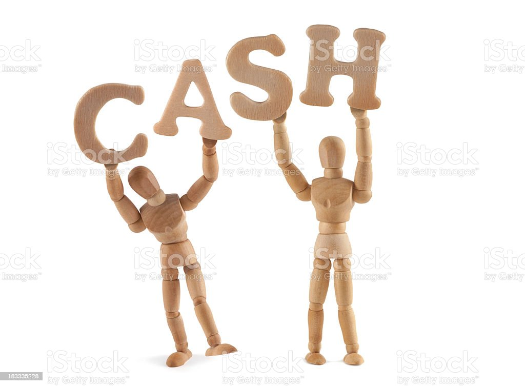 Cash - wooden mannequin holding this word stock photo