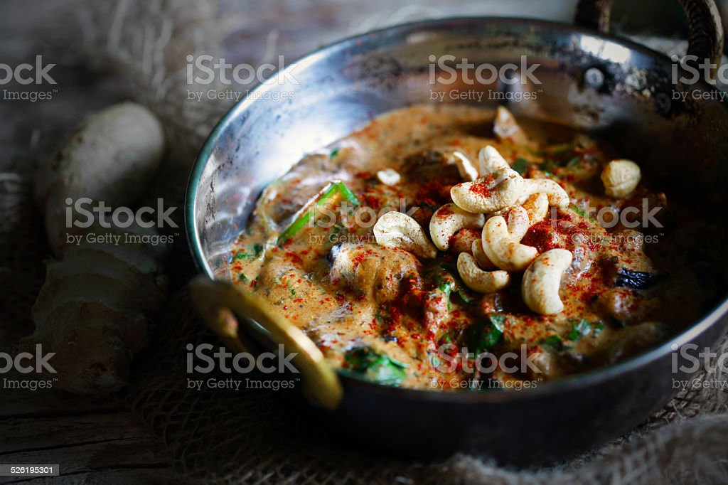 Cashew, chicken and eggplant curry, kaju butter masala stock photo