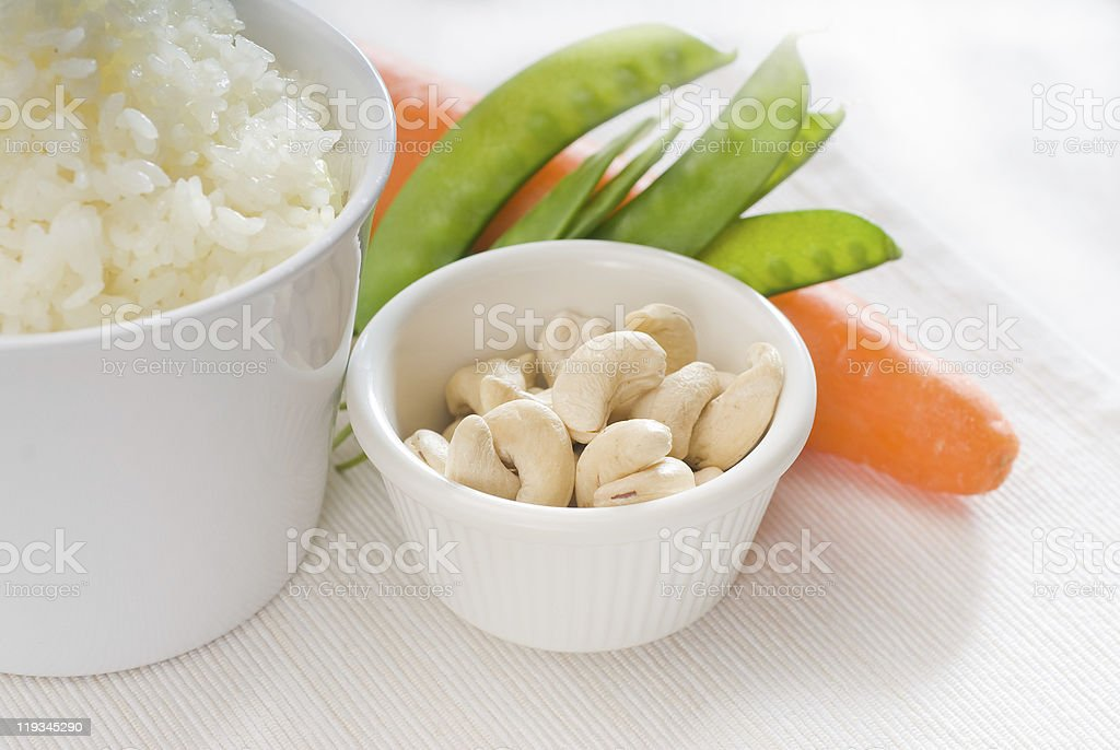 cashew nuts and vegetables stock photo