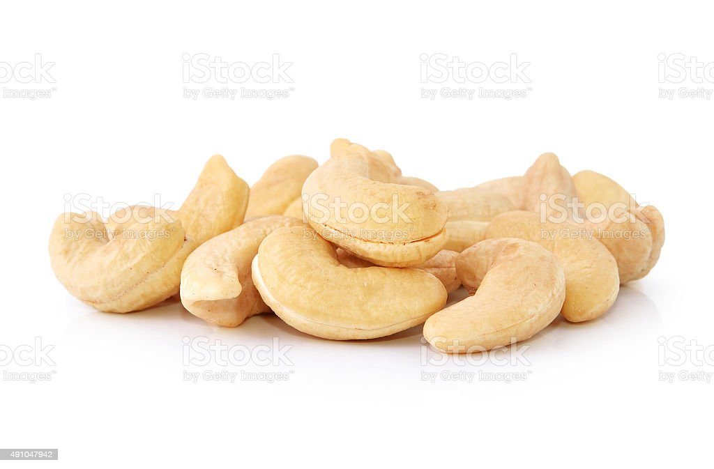 cashew nuts isolated on white background stock photo