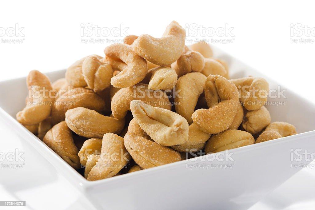 Cashews in White Bowl royalty-free stock photo