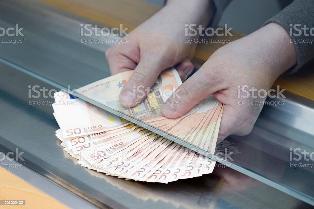 Cashier in the Bank stock photo