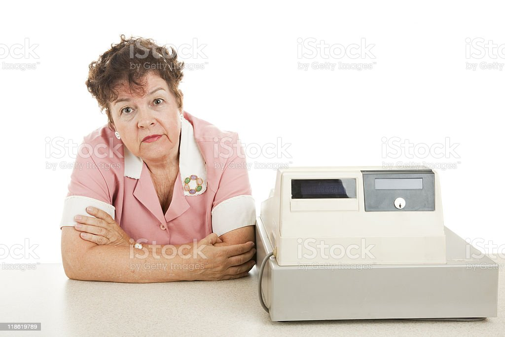 Cashier - Nothing to Do stock photo