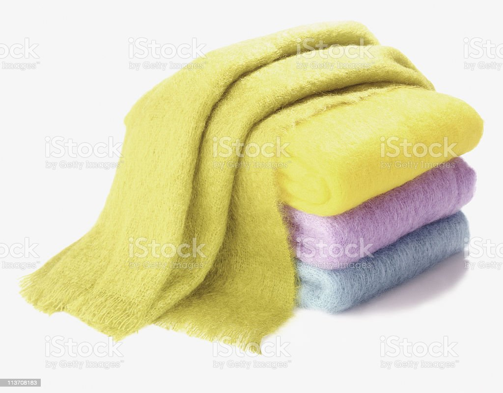cashmere scarves cut out on white royalty-free stock photo
