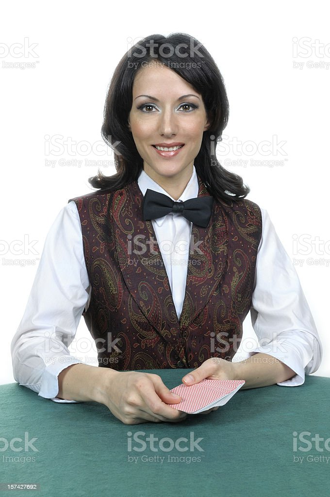 Casino card dealer royalty-free stock photo