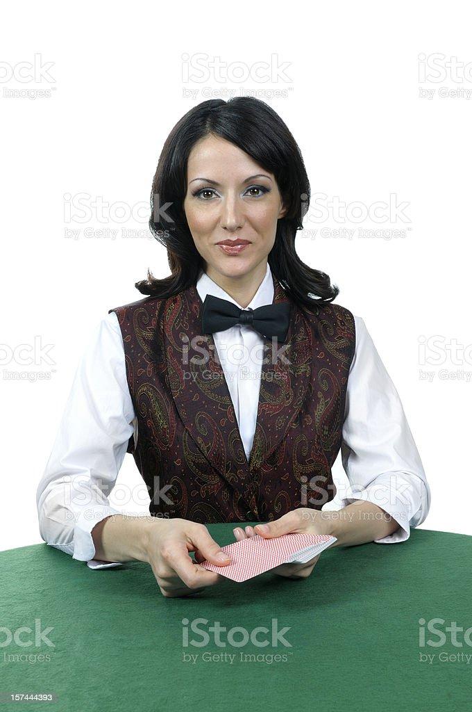 Casino card dealer stock photo