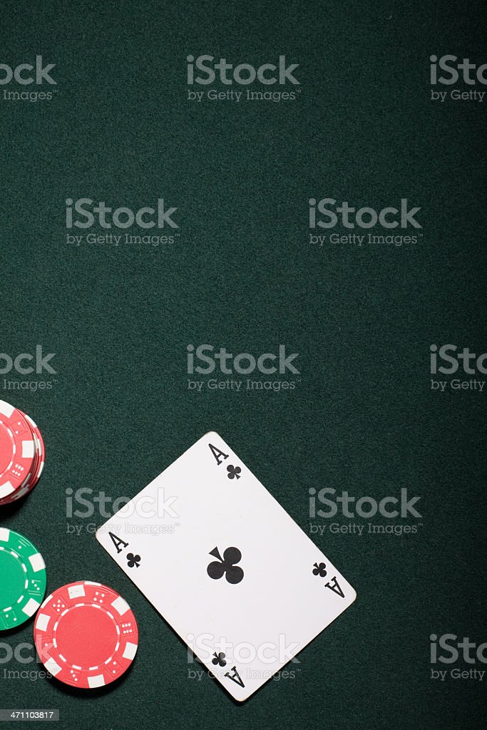 Casino chips and ace card stock photo