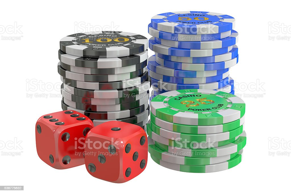 casino chips and dice, 3D rendering stock photo