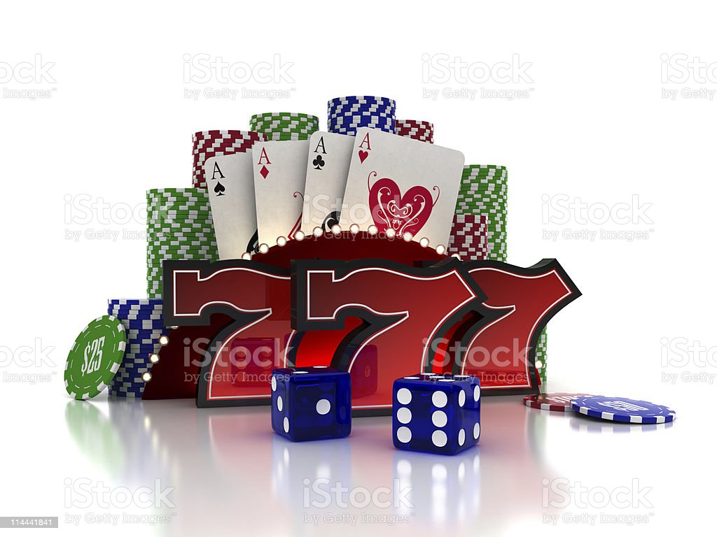 Casino concept with red sevens, cards and die royalty-free stock photo