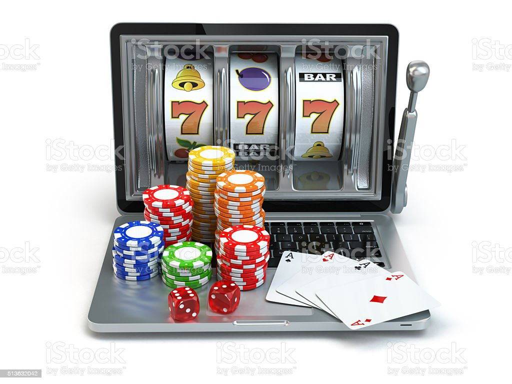 Casino online concept, gambling. Laptop slot machine with dice a stock photo