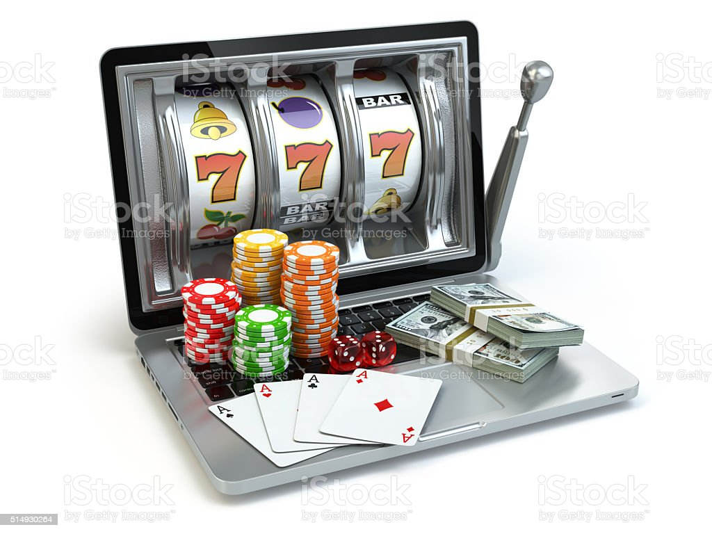 Casino online concept, gambling. Laptop slot machine with dice, stock photo