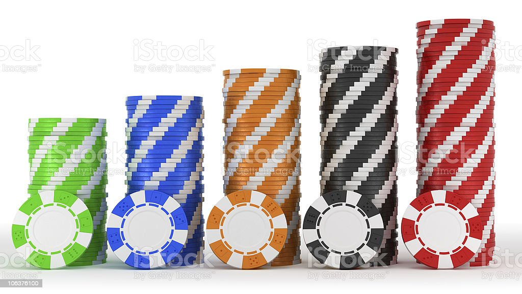 Casino or roulette chip stacks over white royalty-free stock photo