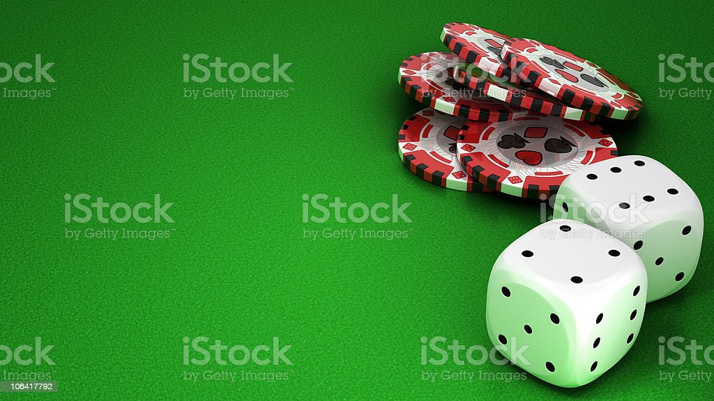 XXXL Casino or roulette chips and dies over green royalty-free stock photo