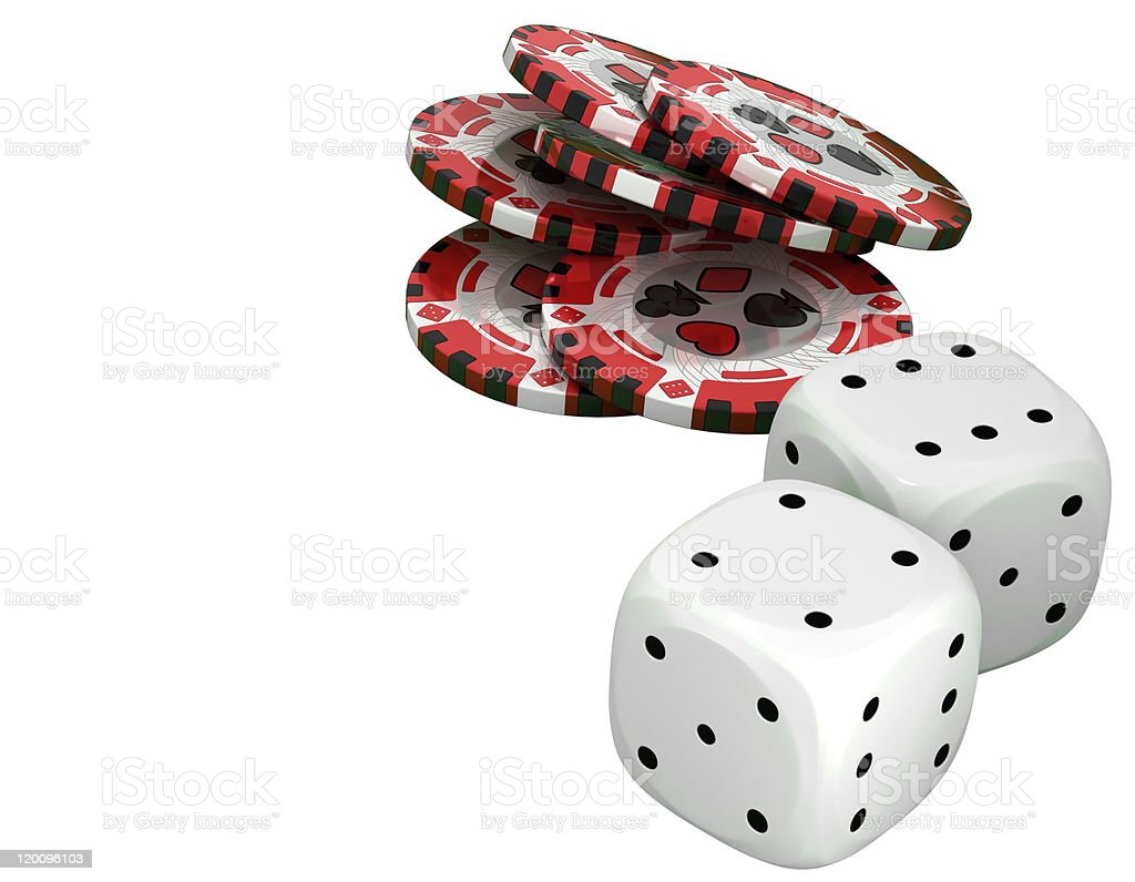 Casino or roulette chips and dies over white royalty-free stock photo