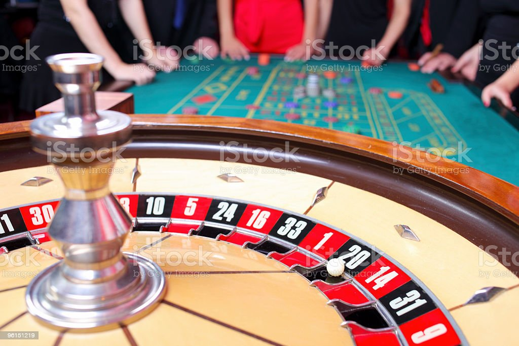 Casino roulette close up with the ball on number 20. royalty-free stock photo