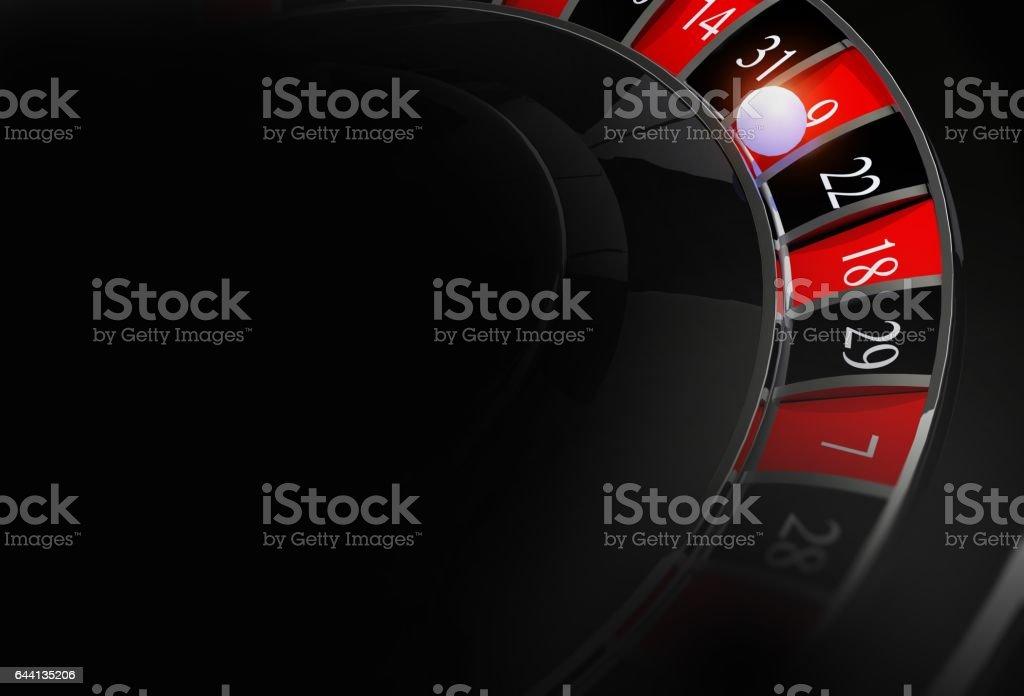 Casino Roulette Dark Background with Copy Space. Casino Gambling Black Backdrop. stock photo
