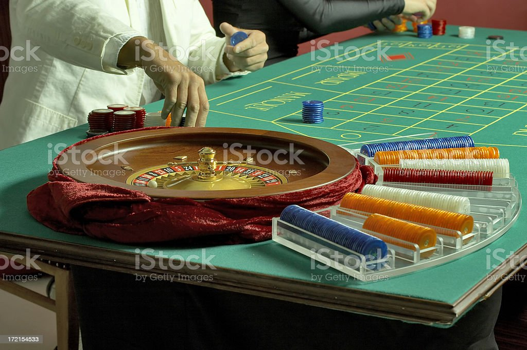 Casino roulette table with chips royalty-free stock photo