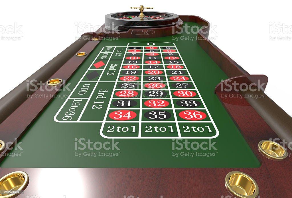 Casino roulette wheel 3D render stock photo