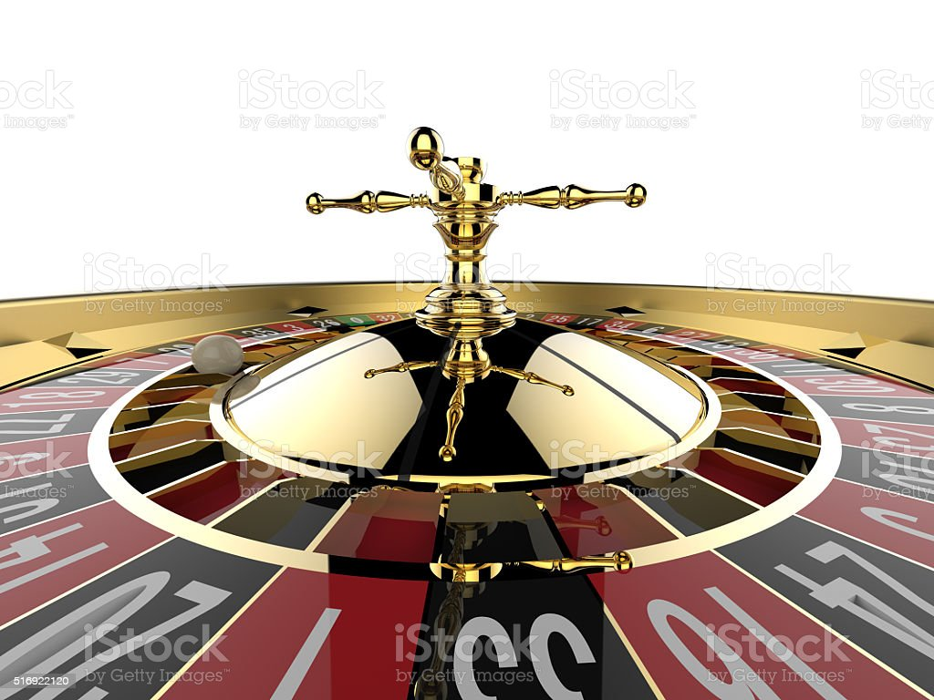 Casino roulette wheel stock photo
