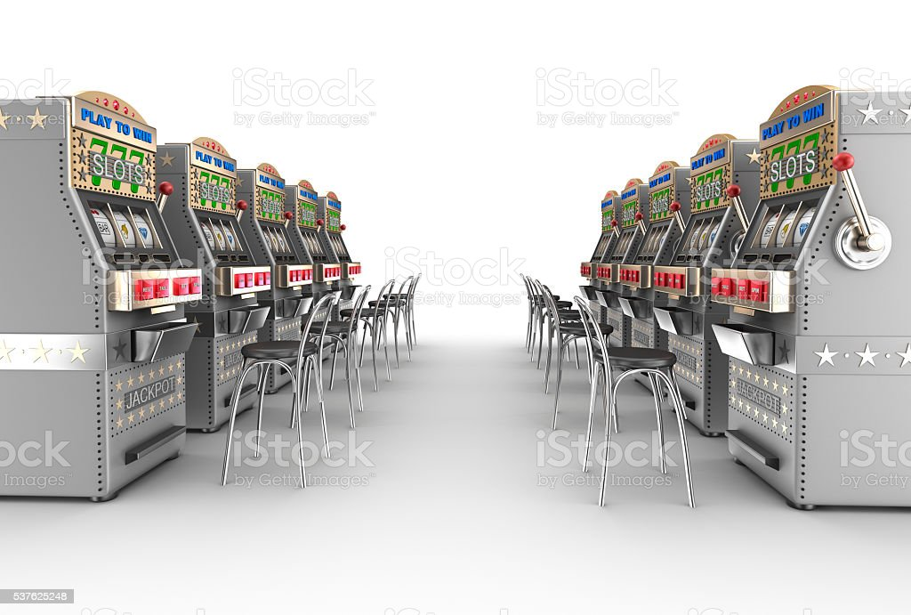 Casino slot machines , white interior stock photo