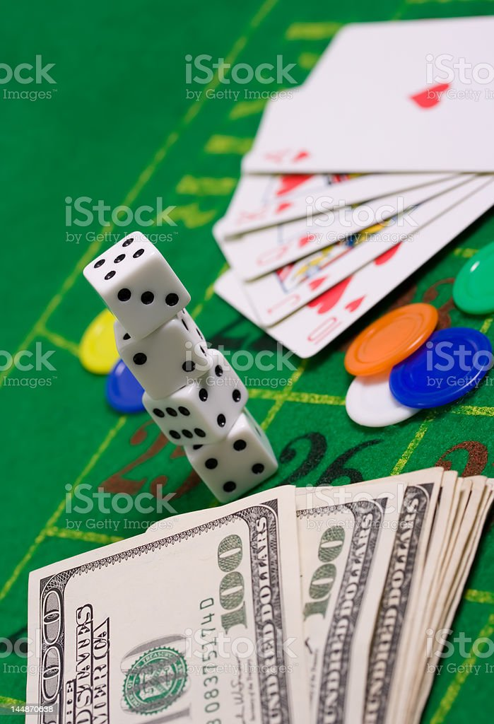 Casino still life with copyspace stock photo