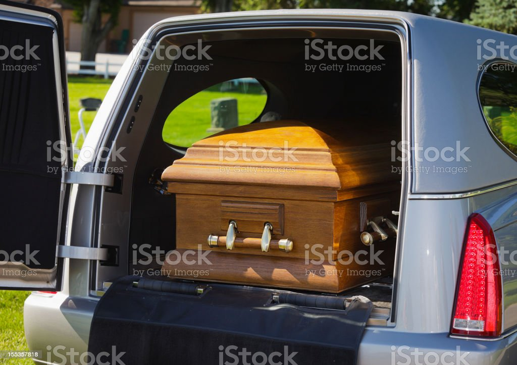 Casket in a Hearse stock photo