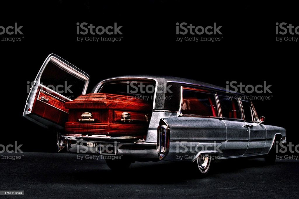 Casket  in the herse stock photo