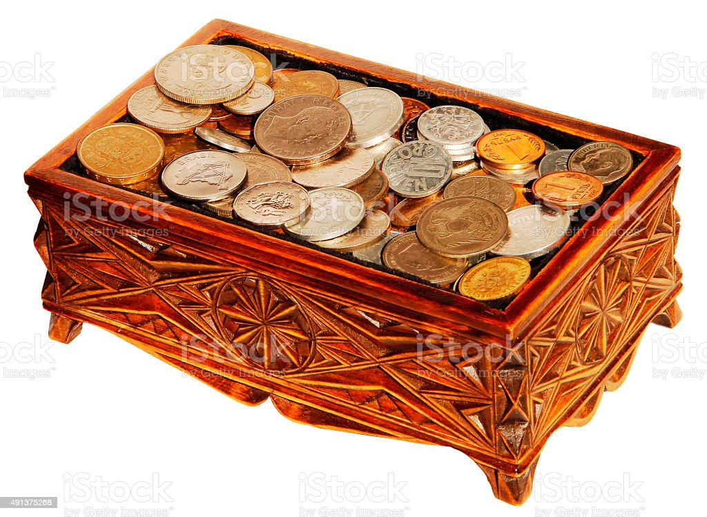 Casket with coins stock photo