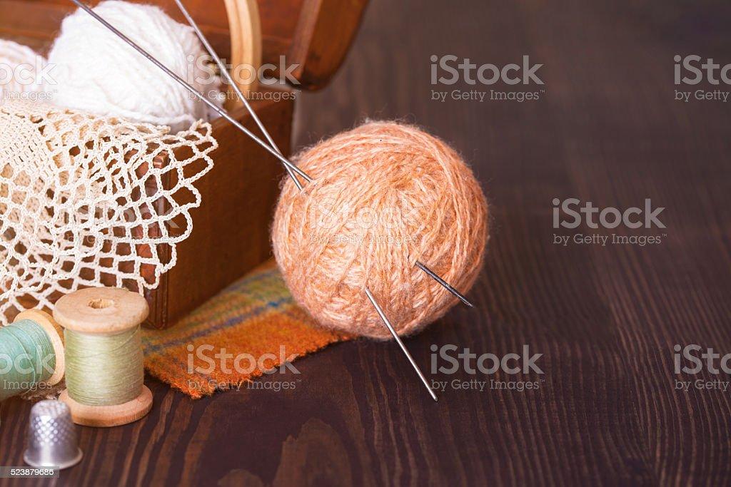 Casket with needlework and beige skein of thread stock photo