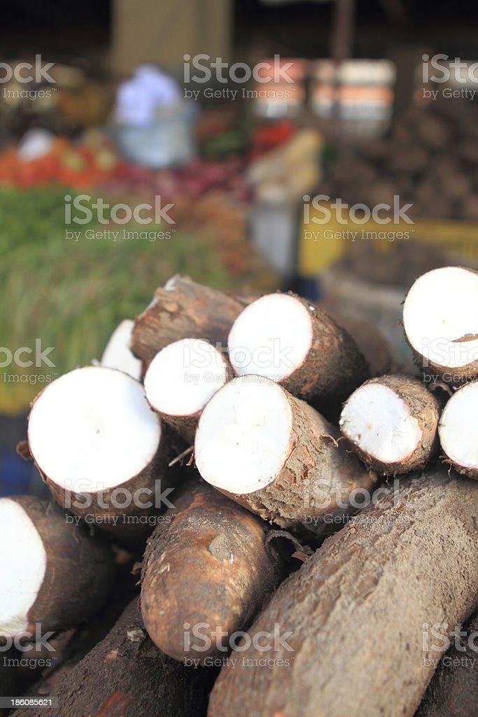 Cassava in Street Market stock photo